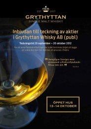 Inbjudan till teckning av aktier i Grythyttan Whisky AB (publ)