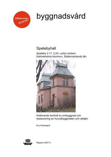 Spetebyhall, Lerbo sn - Sörmlands museum