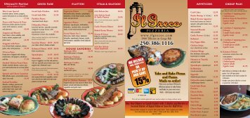 Take and Bake Pizzas and Pastas Made to order! - Il Greco