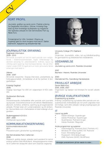journalistisk erfaring kommunikationserfaring uddannelse frivilligt ...