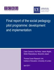 Final report of the social pedagogy pilot programme: development ...