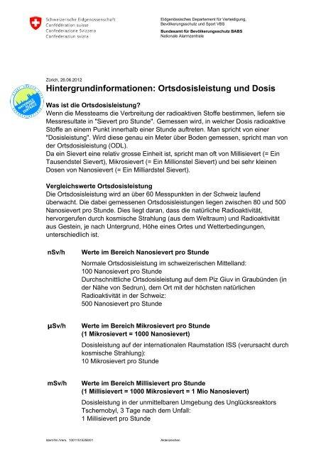 Hintergrundinformationen: Ortsdosisleistung und Dosis - NAZ