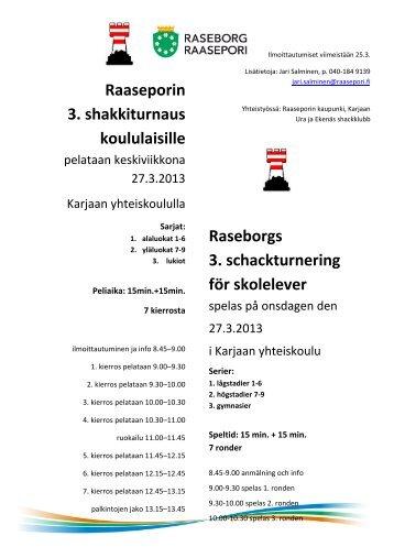 Raaseporin 3. shakkiturnaus koululaisille - Ekenäs Schackklubb