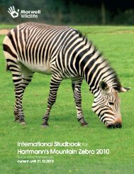 International Studbook Hartmann's Mountain Zebra Hartmann's ...