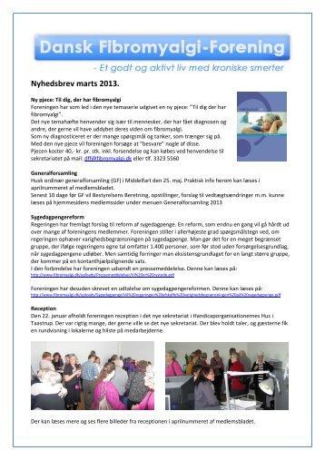 Nyhedsbrev marts 2013. - Dansk Fibromyalgi-Forening