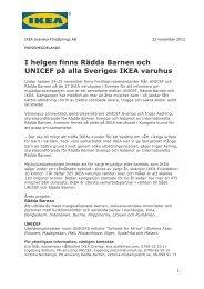 I helgen finns Rädda Barnen och UNICEF på alla Sveriges IKEA ...