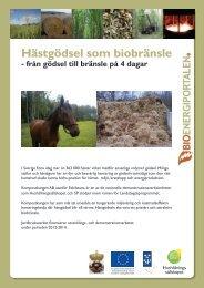 Hästgödsel som biobränsle - Bioenergiportalen