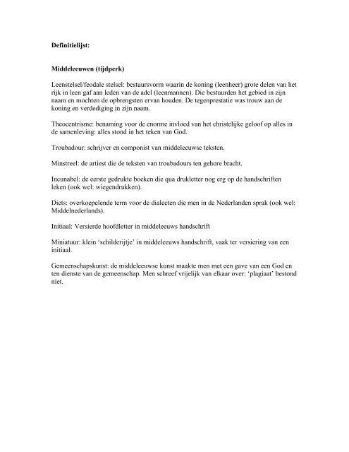 Definitielijst: Middeleeuwen (tijdperk) Leenstelsel/feodale