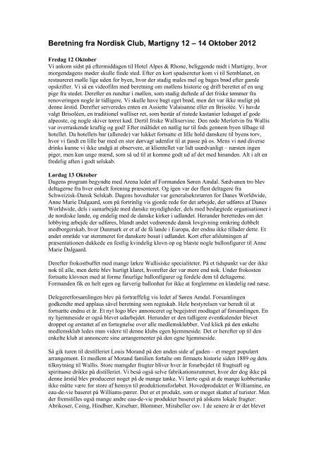 Beretning fra Nordisk Club, Martigny 12 – 14 Oktober 2012