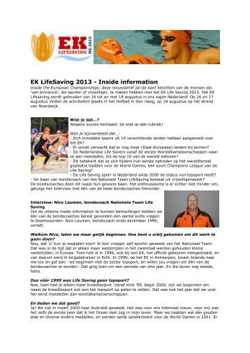EK LifeSaving 2013 - Inside information