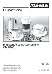 Brugsanvisning Fritstående espressomaskine CM ... - Miele Danmark