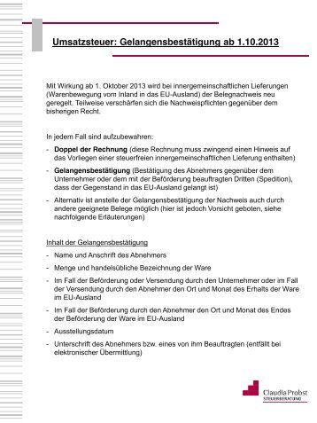 umsatzsteuer gelangensbesttigung ab 1102013 - Gelangensbesttigung Muster