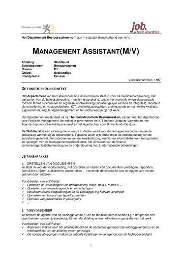 MANAGEMENT ASSISTANT(M/V) - Jobpunt Vlaanderen