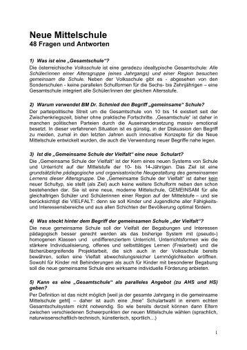 Neue Mittelschule - 48 Fragen und Antworten