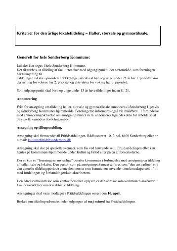 Kriterier for gymnastiksale haller og multihaller - Sønderborg ...