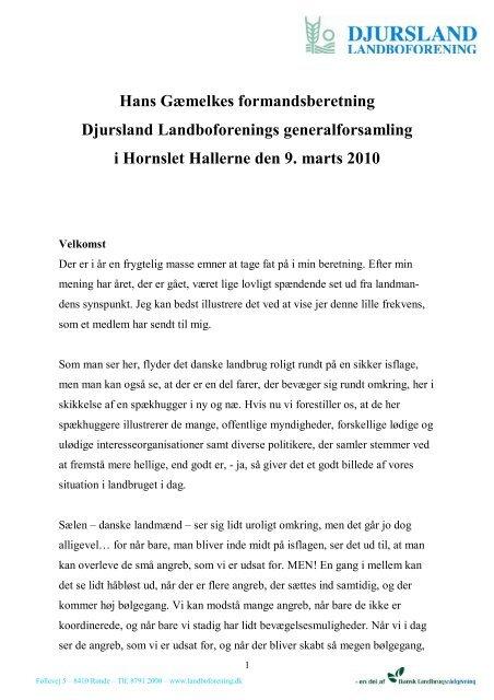 Hans Gæmelkes formandsberetning Djursland Landboforenings ...