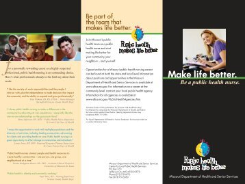 Make life better. - Missouri Department of Health & Senior Services