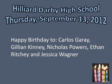 Happy Birthday to: Carlos Garay, Gillian Kinney, Nicholas Powers ...