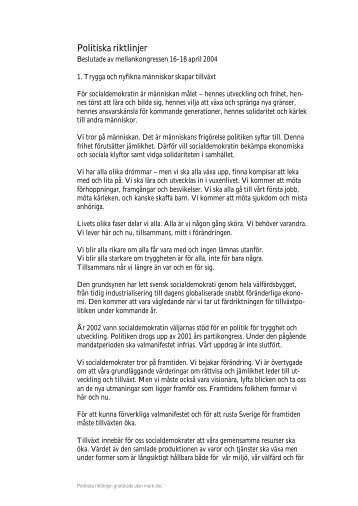 Politiska riktlinjer.pdf - Socialdemokraterna