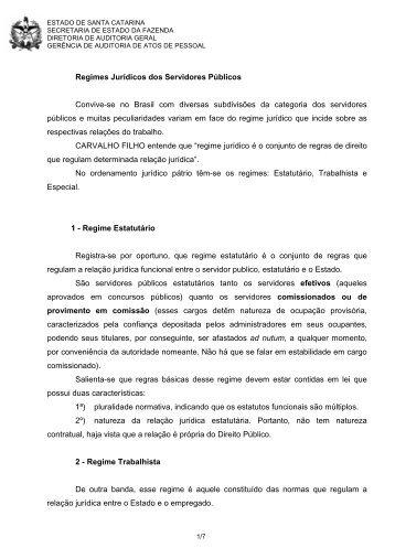 Regimes Jurídicos dos Servidores Públicos - Secretaria de Estado ...