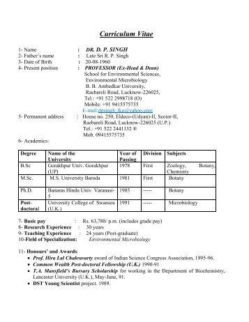 Full cv - Professor . DP Singh