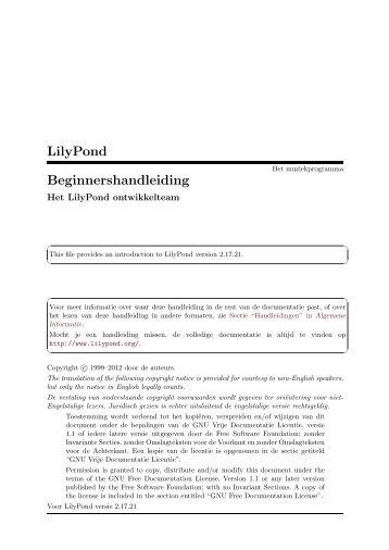 LilyPond Beginnershandleiding