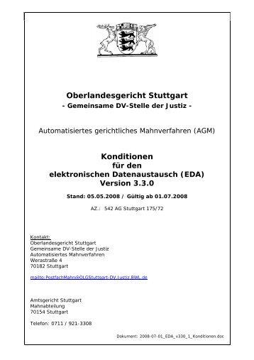 Oberlandesgericht Stuttgart Konditionen Mahngerichtede