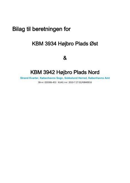 Bilag til udgravningsberetningen Højbro Plads (KBM3934 og 3942)