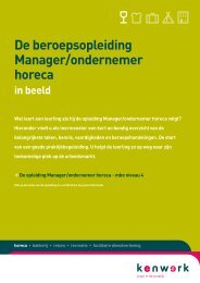 De beroepsopleiding Manager/ondernemer horeca - Kenwerk