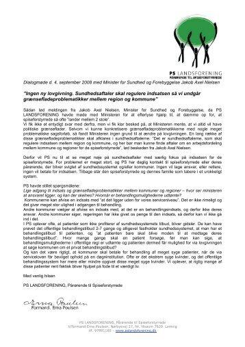 Dagsorden v/formand Erna Poulsen - PS Landsforening