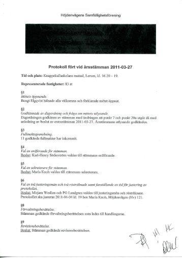 Protokoll fort vid arsstamman 2011-03-27 - H ö jdenv ä gen