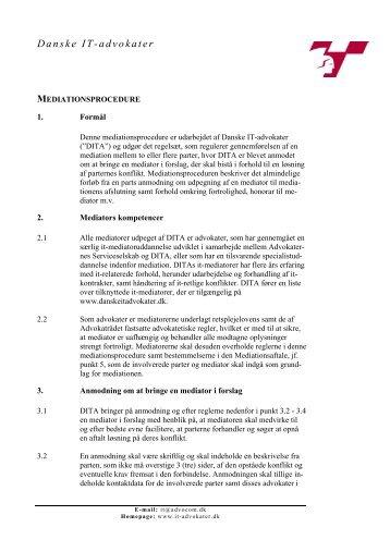 Mediationsprocedure - Danske IT-Advokater