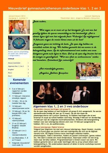 Nieuwsbrief 3 vwo onderbouw - Lyceum Ypenburg