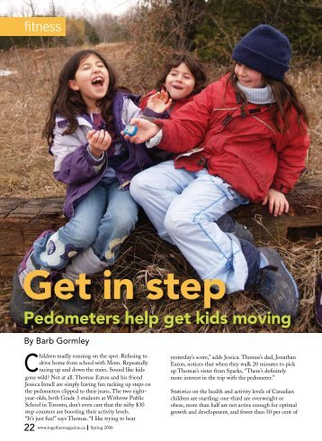 Pedometers help get kids moving - Barb Gormley