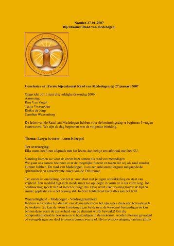 Notulen 27-01-2007 Bijeenkomst Raad van mededogen ...