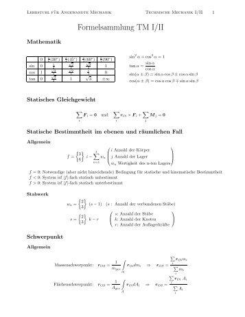 Formelsammlung TM I/II