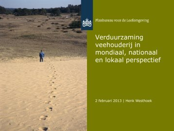 Verduurzaming veehouderij in mondiaal, nationaal en lokaal ...
