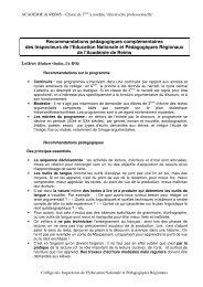 Recommandations pédagogiques des inspecteurs de l'académie de ...