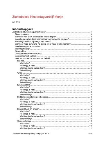 ziektebeleid juni 2012 - Kinderdagverblijf Merijn