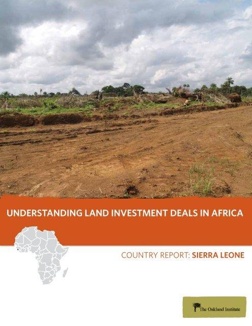 Country Report: Sierra Leone - Oakland Institute