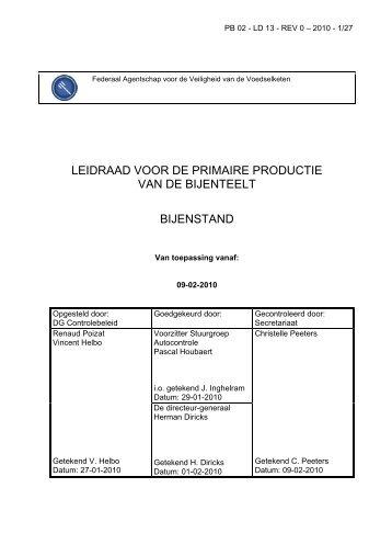 LEIDRAAD VOOR DE PRIMAIRE PRODUCTIE VAN DE ... - Favv