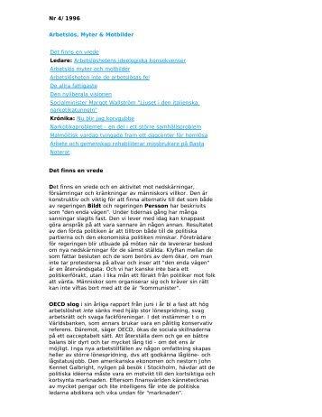 Nr 4/1996 Arbetslös, Myter & Motbilder - RFHL