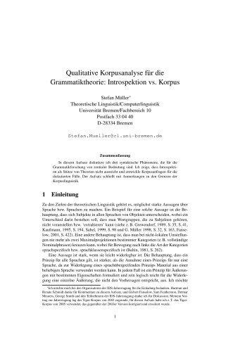 Qualitative Korpusanalyse für die Grammatiktheorie: Introspektion vs ...
