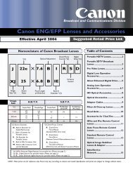 Canon ENG/EFP Lenses and Accessories - I. Cours - Free