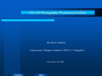 ED 550 Photography Workshop Portfolio - Homepages