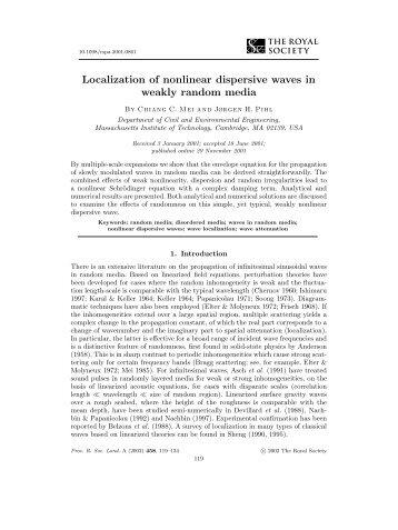 Localization of nonlinear dispersive waves in weakly random media