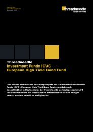 Threadneedle Investment Funds ICVC European High Yield Bond Fund ...