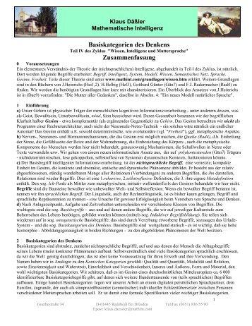 Denk-Kategorien - Gesellschaft für Mathematische Intelligenz