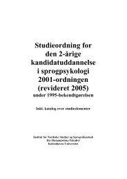 revideret 2005 - Sprogpsykologi - Københavns Universitet