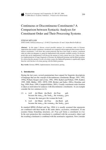 Continuous or Discontinuous Constituents? - German Grammar ...